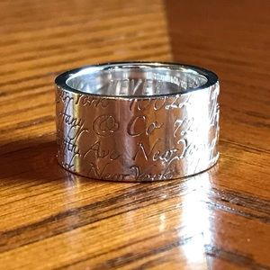 Tiffany & Co Retired Love Notes 10mm Ring - Sz 6